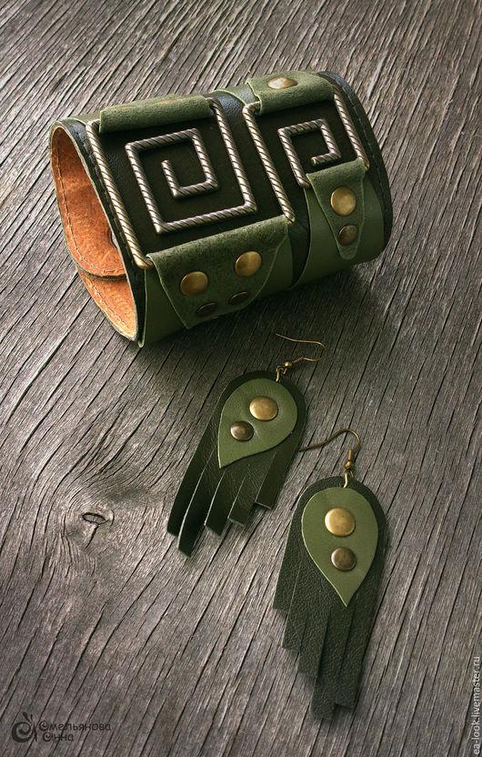 Браслеты ручной работы. Ярмарка Мастеров - ручная работа. Купить Forest look комплект украшений из натуральной кожи. Handmade. Хаки