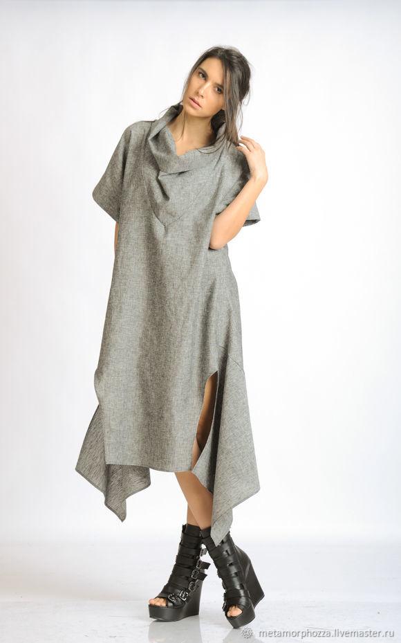 408f531ec64 Платья ручной работы. Ярмарка Мастеров - ручная работа. Купить Платье Grey  Linen oversize METD0122 ...