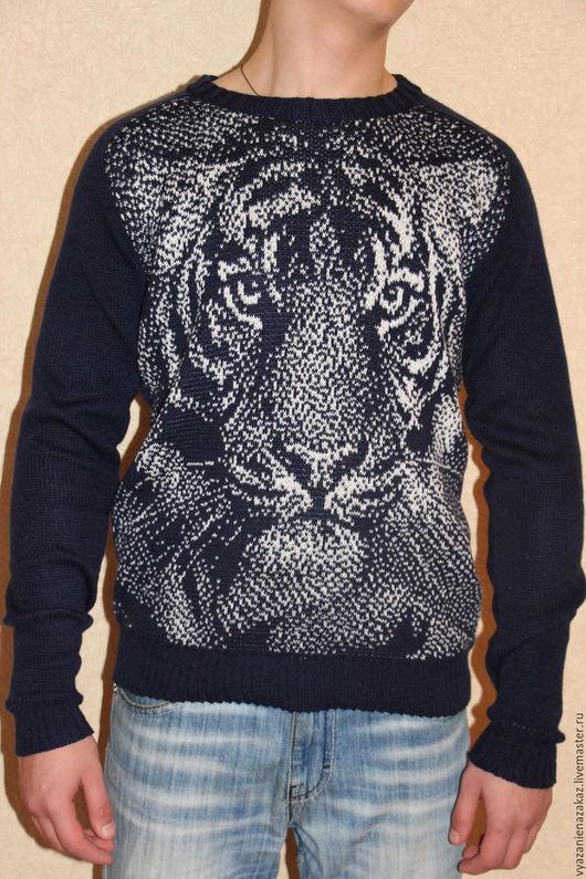 """Кофты и свитера ручной работы. Ярмарка Мастеров - ручная работа. Купить Cвитер мужской """"Тигр"""". Handmade. Тёмно-синий, свитер"""