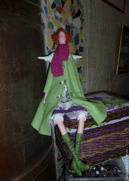 Куклы Тильды ручной работы. Ярмарка Мастеров - ручная работа. Купить Ангел осени. Handmade. Зеленый, флис