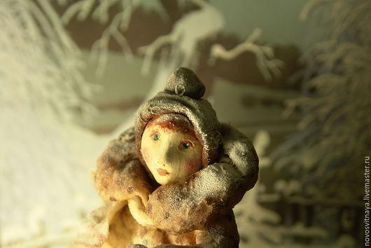 Коллекционные куклы ручной работы. Ярмарка Мастеров - ручная работа. Купить Елочная игрушка из ваты.Зина.. Handmade. Коричневый