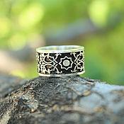Украшения handmade. Livemaster - original item 925 sterling silver ring with ethnic pattern, black enamel finish. Handmade.