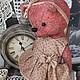 Авторский коллекционный мишка . Винтаж . Продолжение кол-ции `Старинные часы` . Изготовлен из настоящего старинного плюша . Виталина милая . нежная девочка . Ручки ножки на шплинтовом соединении . гол