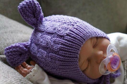"""Для новорожденных, ручной работы. Ярмарка Мастеров - ручная работа. Купить Шапочка """" Ушки-3"""". Handmade. Сиреневый"""