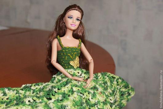 Одежда для кукол ручной работы. Ярмарка Мастеров - ручная работа. Купить Аленушка. Handmade. Болотный, вязаное платье, кукла, подарок