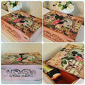 """Для дома и интерьера ручной работы. Ярмарка Мастеров - ручная работа Коробка чайная """"Райская птица"""". Handmade."""
