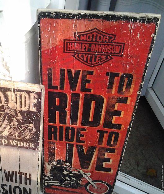 Люди, ручной работы. Ярмарка Мастеров - ручная работа. Купить Панно 25х70 большое деревянное Harley Davidson W0177. Handmade.