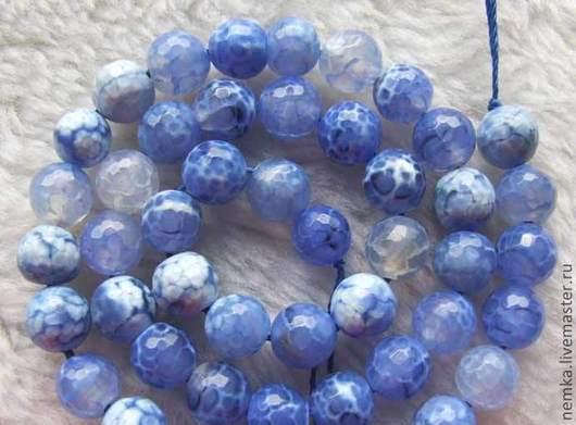 Для украшений ручной работы. Ярмарка Мастеров - ручная работа. Купить Агат граненый голубой- 8 мм. Handmade. Голубой