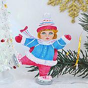 Сувениры и подарки handmade. Livemaster - original item Christmas tree toy girl on canyons vintage hand painted. Handmade.