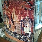 Картины и панно ручной работы. Ярмарка Мастеров - ручная работа Деревянное панно 40х30 Гобелен Дама с единорогом. Слух (ХИТ). Handmade.