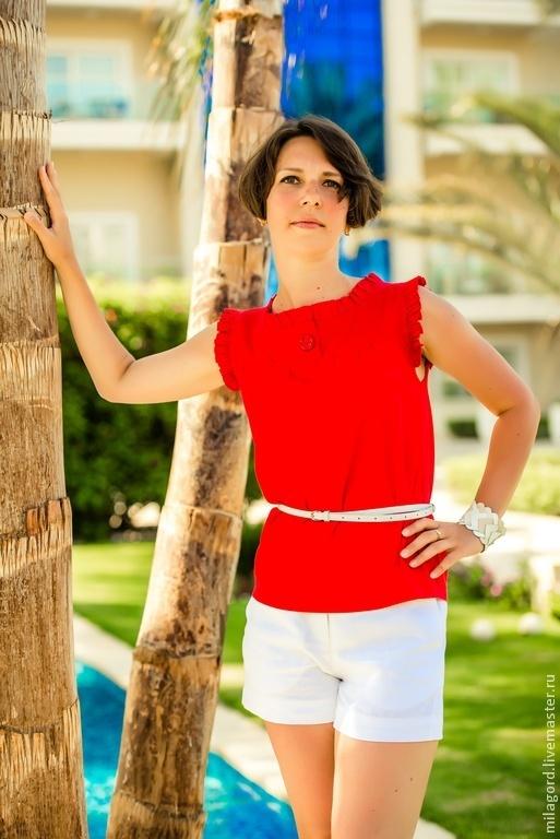 """Блузки ручной работы. Ярмарка Мастеров - ручная работа. Купить Блузка """"Нифертити"""". Handmade. Ярко-красный, блуза, блузка летняя"""