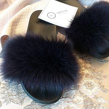 Обувь ручной работы. Ярмарка Мастеров - ручная работа Шлёпки с мехом финского аукционного песца черничный цвет. Handmade.