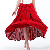 Одежда handmade. Livemaster - original item bright red boho skirt made of 100% linen. Handmade.
