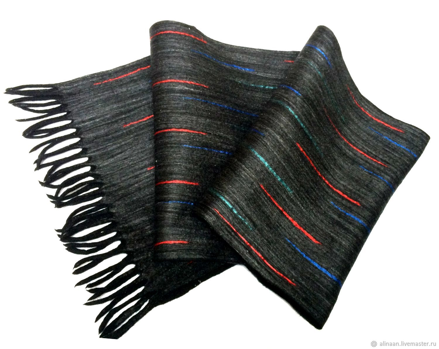 'Black diamond-3' felted scarf mens, Scarves, Moscow,  Фото №1