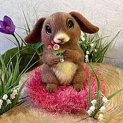 Куклы и игрушки ручной работы. Ярмарка Мастеров - ручная работа войлочная зайка Розочка. Handmade.