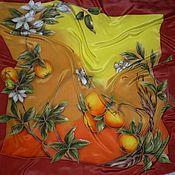 Аксессуары ручной работы. Ярмарка Мастеров - ручная работа Платок-батик``Сладкий апельсин``Символы Фэн-Шуй. Handmade.