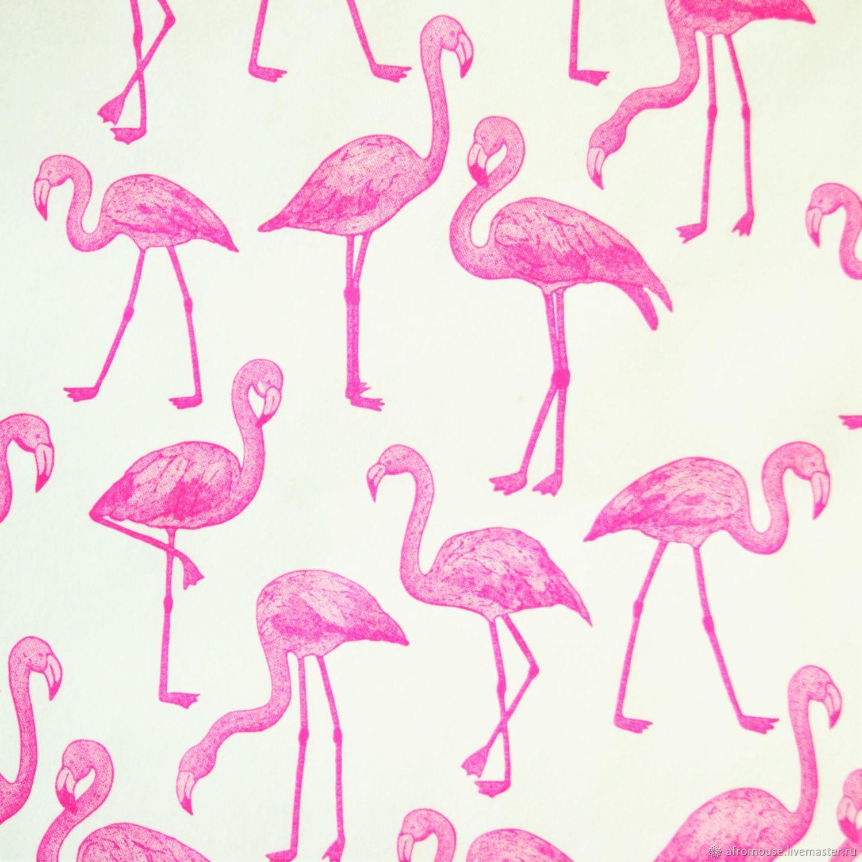 """Бумага """"Фламинго на белом"""" упаковочная, Упаковочная бумага, Москва,  Фото №1"""