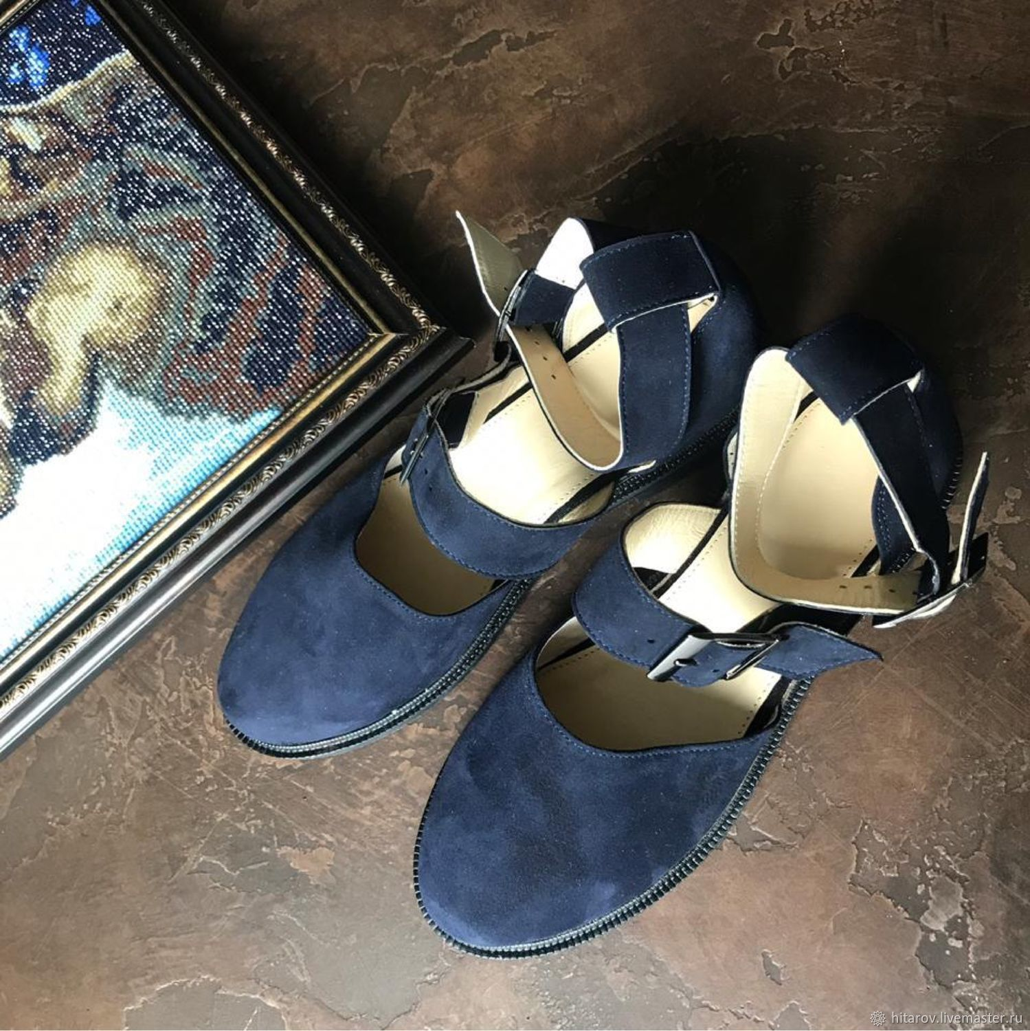Cosmo sandals Round toe blue suede black sole, Sandals, Moscow,  Фото №1