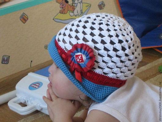 Панамы ручной работы. Ярмарка Мастеров - ручная работа. Купить Шляпка для девочки Морская. Handmade. Однотонный, панамка крючком