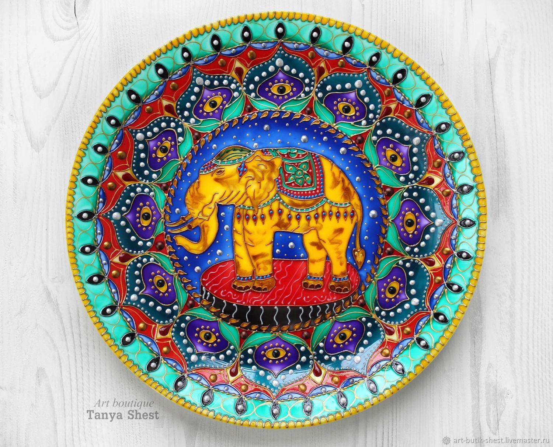 Тарелки ручной работы. Ярмарка Мастеров - ручная работа. Купить Декоративная тарелка 'Слон' ручная роспись. Handmade. Слон
