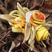 """Украшения ручной работы. Ярмарка Мастеров - ручная работа Авторская валяная брошь: """"Осенние розы"""". Handmade."""