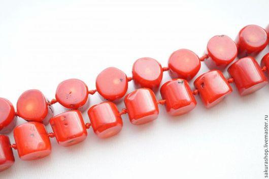 Для украшений ручной работы. Ярмарка Мастеров - ручная работа. Купить Коралл цилиндр 15х15мм. Handmade. Ярко-красный