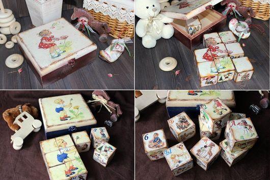 """Развивающие игрушки ручной работы. Ярмарка Мастеров - ручная работа. Купить Кубики с алфавитом и цифрами (для мальчиков и девочек) """"Как раньше..."""". Handmade."""