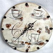 """Для дома и интерьера ручной работы. Ярмарка Мастеров - ручная работа Настенные часы декупаж """"Coffee"""". Handmade."""