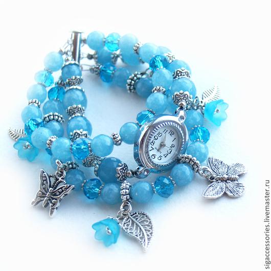 """Часы ручной работы. Ярмарка Мастеров - ручная работа. Купить """"Бабочки на цветочной поляне"""" - часы-браслет. Handmade. Бирюзовый"""