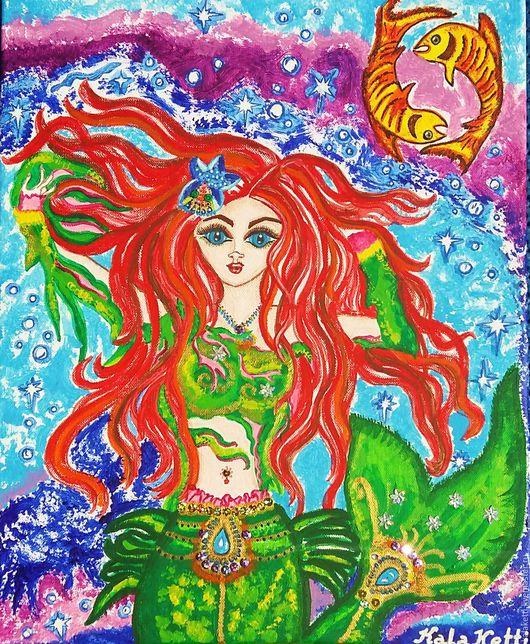 На этой картине я изобразила маленькую русалочку с красными волосами. Она плавает в морских глубинах и наслаждается прекрасной жизнью. Ее сопровождают две жолто- оранжевые рыбки. Она счастлива ♥