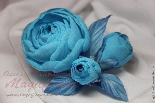 Заколки ручной работы. Ярмарка Мастеров - ручная работа. Купить Заколка, зажим Голубые розы. Брошь. Цветы из ткани. Handmade.