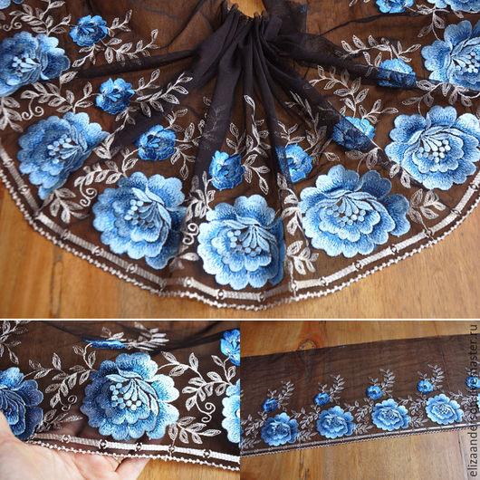 Аппликации, вставки, отделка ручной работы. Ярмарка Мастеров - ручная работа. Купить Отделка кружево, вышивка, Голубые розы. Handmade.