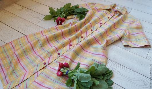 Платья ручной работы. Ярмарка Мастеров - ручная работа. Купить Платье - рубашка шелковое желтое в клетку. Handmade. Желтый