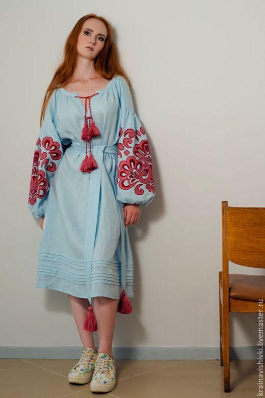 Этническая одежда ручной работы. Ярмарка Мастеров - ручная работа. Купить Платье-вышиванка IRINA. Handmade. Орнамент, Вышиванка, голубой