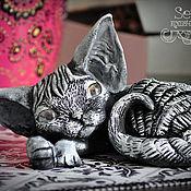 Подарки к праздникам handmade. Livemaster - original item Currents. Cat Devon Rex. Handmade.