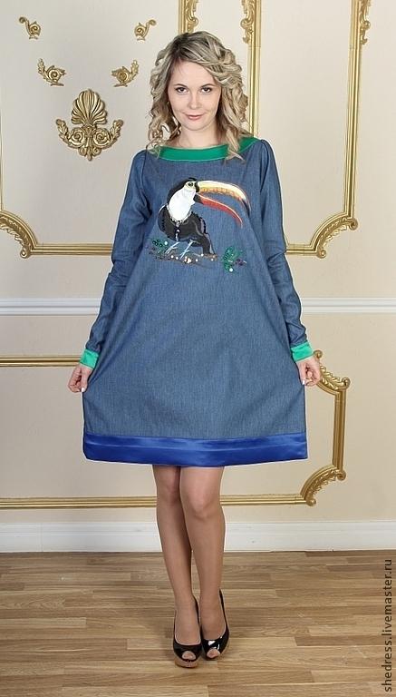 """Платья ручной работы. Ярмарка Мастеров - ручная работа. Купить Для Вас! Джинсовое платье """"Тукан"""". Handmade. Синий, платье"""