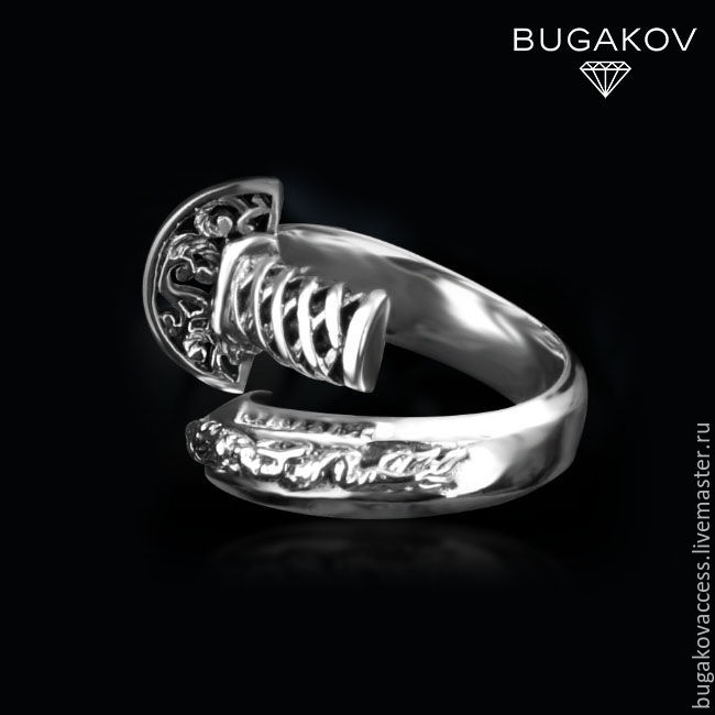 Ring sword with a dragon from silver 925 dimensionless unisex, Rings, Moscow,  Фото №1