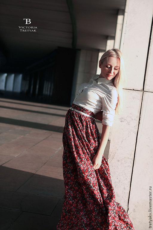 Юбки ручной работы. Ярмарка Мастеров - ручная работа. Купить Юбка в пол/юбка летняя/длинная юбка/пышная юбка. Handmade. Цветочный