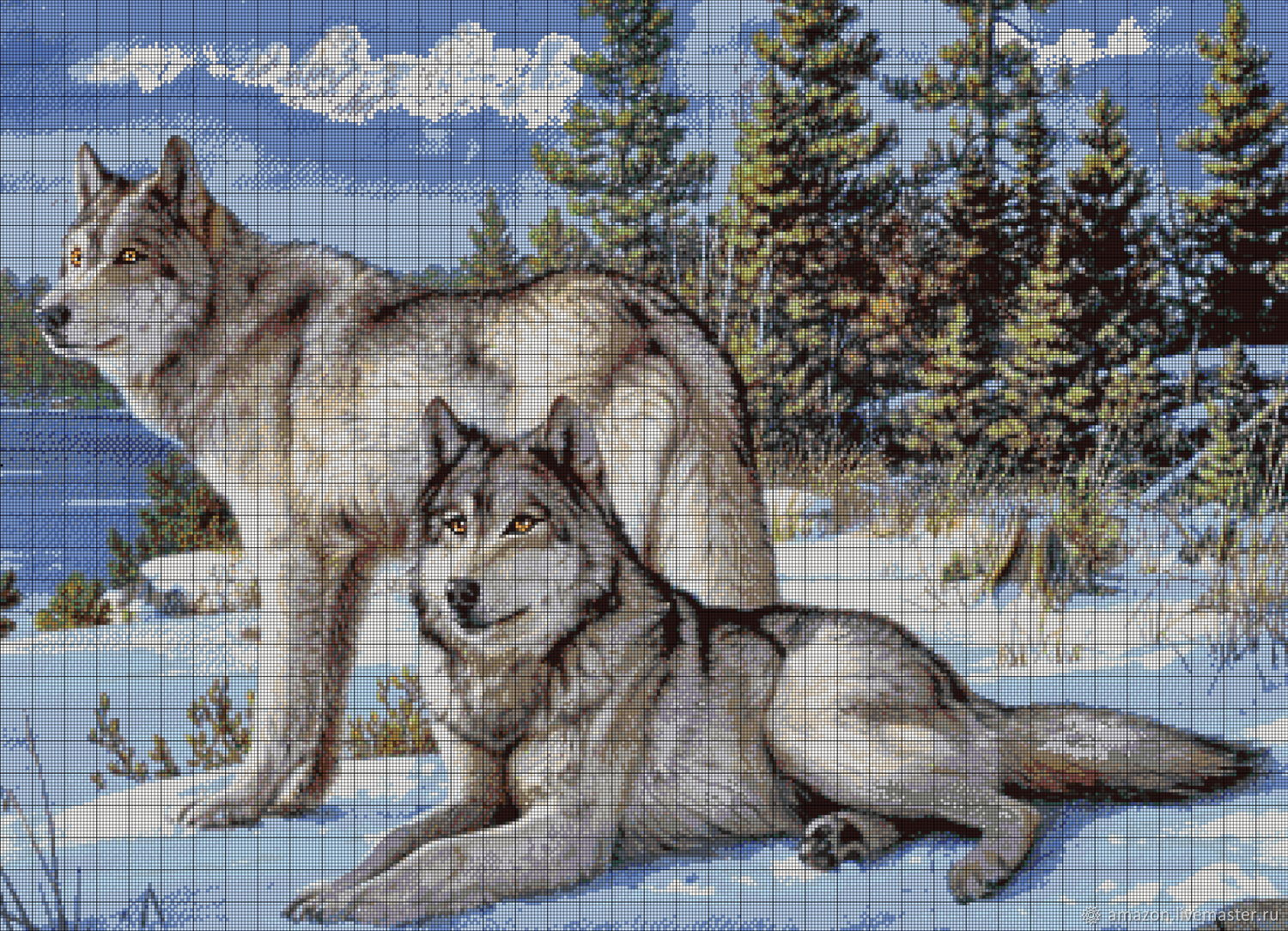 Kit embroidery with beads 'Wolves', Embroidery kits, Ufa,  Фото №1
