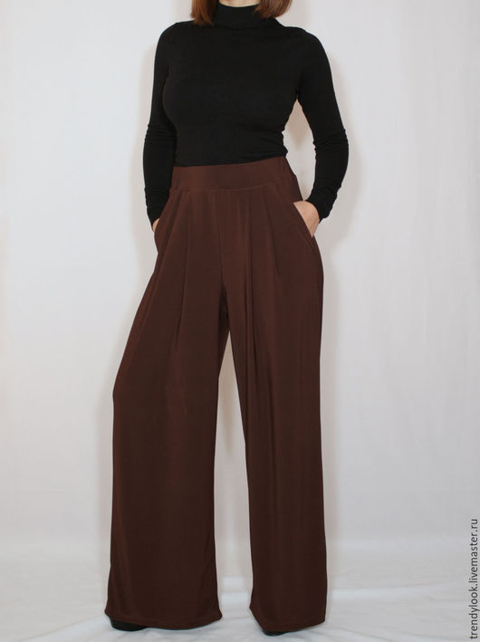 Брюки, шорты ручной работы. Ярмарка Мастеров - ручная работа. Купить Коричневые брюки с карманами, широкие штаны. Handmade. Однотонный