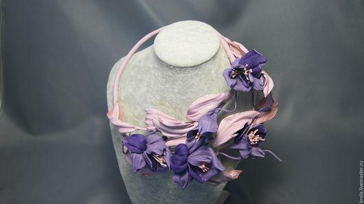 Колье, бусы ручной работы. Ярмарка Мастеров - ручная работа. Купить Колье из кожи Дикая орхидея. Handmade. Бледно-розовый