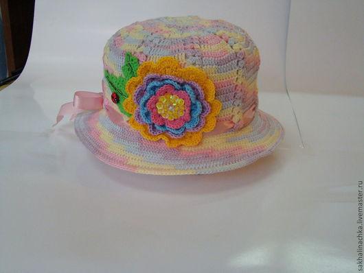 Шапки и шарфы ручной работы. Ярмарка Мастеров - ручная работа. Купить шляпка 17. Handmade. Шляпка для девочки, хлопок 100%