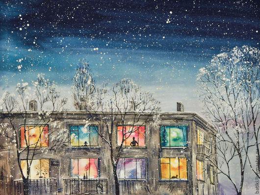 Город ручной работы. Ярмарка Мастеров - ручная работа. Купить Космическая зима. Картина акварелью. Handmade. Тёмно-синий, окна