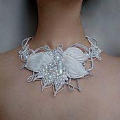 Украшения handmade. Livemaster - original item White Bead Embroidered wedding bridal necklace Matching Jewelry Set. Handmade.