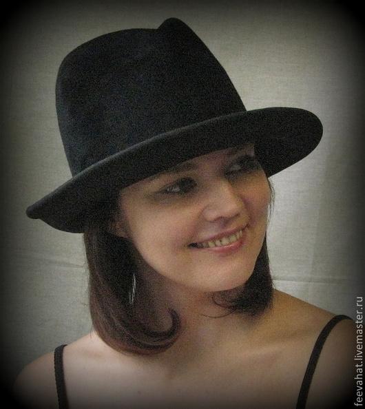 """Шляпы ручной работы. Ярмарка Мастеров - ручная работа. Купить Шляпа велюровая """"Интрига 2"""". Handmade. Черный, широкие поля"""