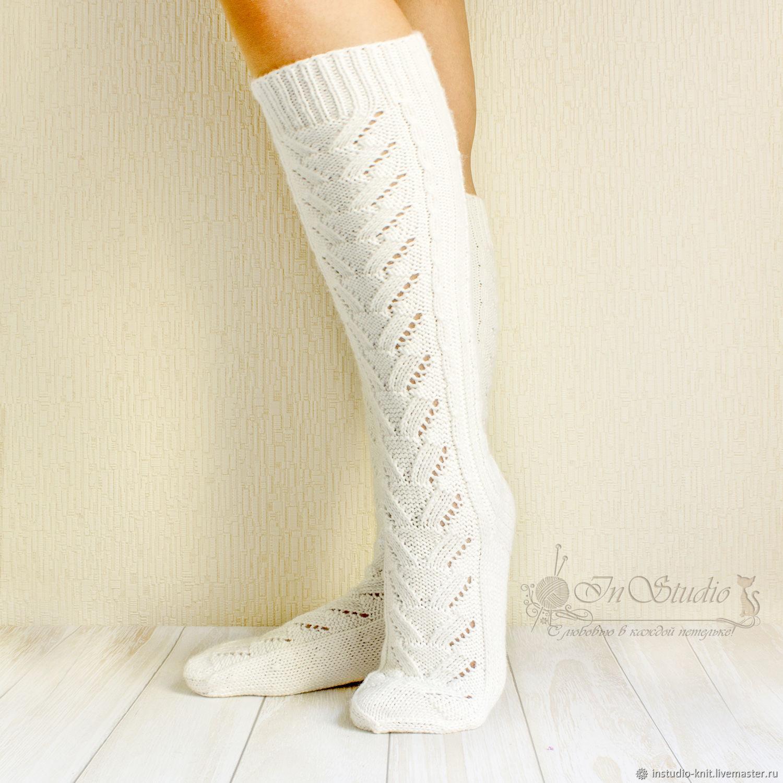 гольфы вязаные белые ажурные высокие носки купить в интернет