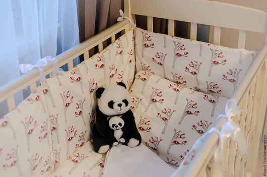 Детская ручной работы. Ярмарка Мастеров - ручная работа. Купить Комплект постельных принадлежностей в детскую кроватку. Handmade. Белый, птицы