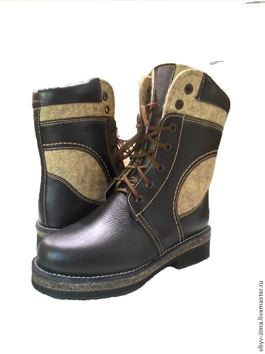 Обувь ручной работы. Ярмарка Мастеров - ручная работа. Купить Ботинки мужские. Handmade. Черный, кожа натуральная, войлок