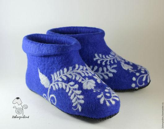 Обувь ручной работы. Ярмарка Мастеров - ручная работа. Купить валяные тапочки Синий иней. Handmade. Валяные тапочки, синий