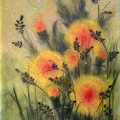 Картины и панно handmade. Livemaster - original item A very small insect and dandelions. Handmade.